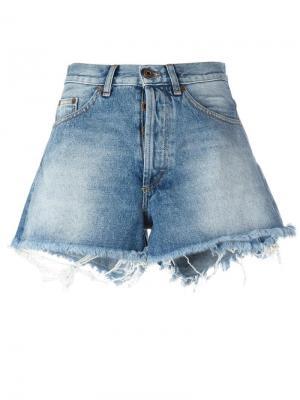 Джинсовые шорты с необработанными краями Off-White. Цвет: синий