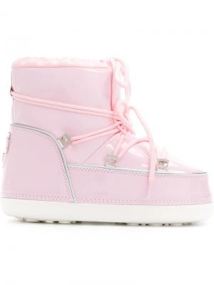 Зимние сапоги луноходы Chiara Ferragni. Цвет: розовый и фиолетовый