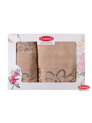 Махровое полотенце в коробке 30x50+50x90+70x140 DORA бежевое,100% хлопок HOBBY HOME COLLECTION. Цвет: бежевый