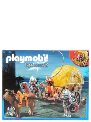 Конструктор Рыцари Сокола с камуфляжной повозкой Playmobil. Цвет: коричневый, желтый