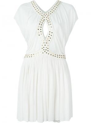 Платье с заклепками Jay Ahr. Цвет: белый