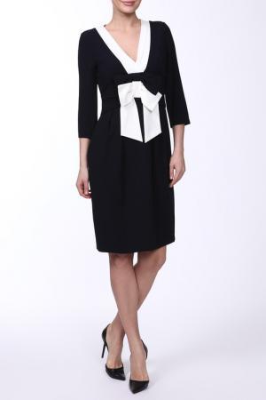 Платье с бантом, V-образный вырез, рукава 3/4 E.LEVY. Цвет: синий