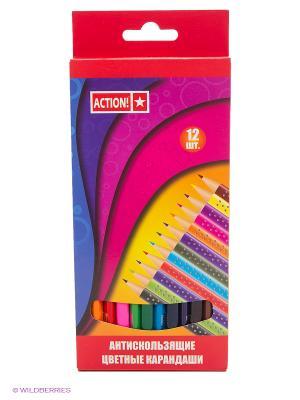 Набор трехгранных карандашей 12цветов Action!. Цвет: красный, желтый, зеленый