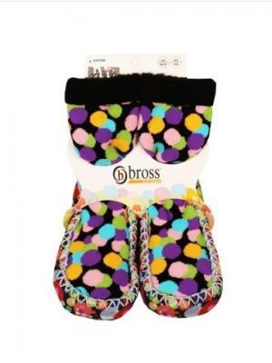 Тапочки-носки противоскользящие BROSS. Цвет: черный
