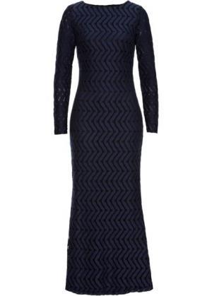 Длинное кружевное платье (синий) bonprix. Цвет: синий