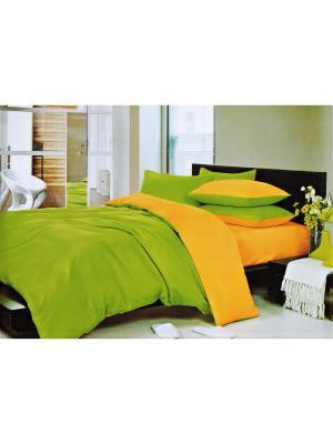 Комплект постельного белья евро Boris. Цвет: оранжевый, зеленый
