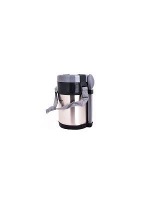 Термос с крышкой-чашкой и контейнерами для обеда, сохраняет тепло 24 часа, 2 л HOFFMANN. Цвет: серый, серебристый