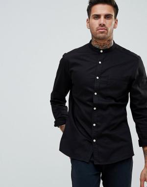 ASOS Черная эластичная джинсовая рубашка узкого кроя с воротником-стойкой A. Цвет: черный