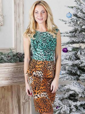 Платье MARY MEA. Цвет: зеленый, коричневый
