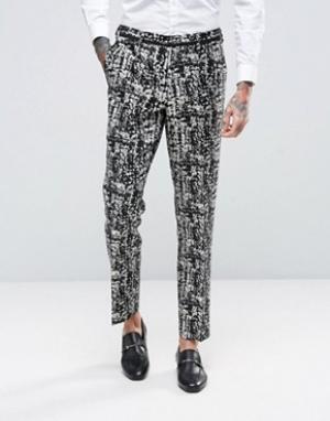 ASOS Черно-белые брюки скинни. Цвет: черный