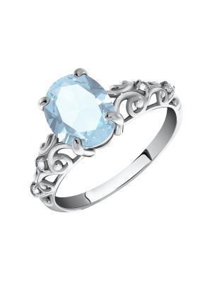 Серебряное кольцо KRASNOE. Цвет: серебристый, голубой