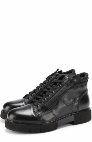 Кожаные ботинки на шнуровке O.X.S.. Цвет: черный