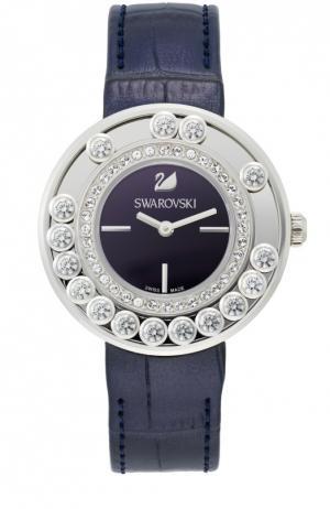 Наручные часы Lovely Crystals с кожаным ремешком Swarovski. Цвет: фиолетовый