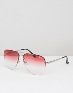 Quay Australia Солнцезащитные очки-авиаторы с эффектом деграде Muse. Цвет: розовый