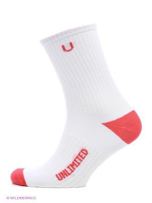 Носки спортивные 3 пары Unlimited. Цвет: белый, красный