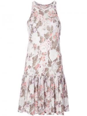 Плиссированное платье с цветочным узором Rebecca Taylor. Цвет: белый