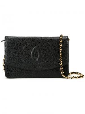 Сумка через плечо с тисненым логотипом Chanel Vintage. Цвет: чёрный