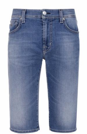 Удлиненные джинсовые шорты с контрастной прострочкой Sartoria Tramarossa. Цвет: синий