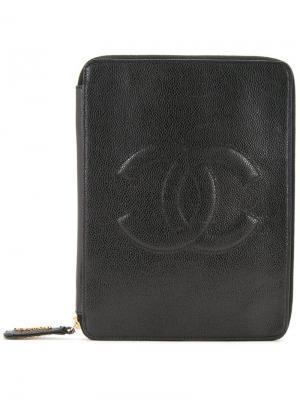 Сумка-клатч с логотипом СС Chanel Vintage. Цвет: чёрный