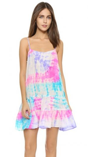 Пляжное платье с рисунком в технике узелкового батика Juliet Dunn. Цвет: фуксия/нефрит/фиолетовый
