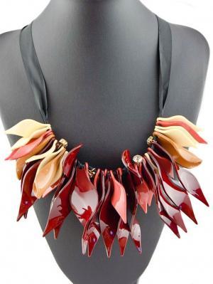Колье Miss Bijou. Цвет: бордовый, коричневый, прозрачный, розовый, золотистый, белый, черный
