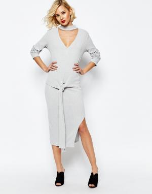 Lavish Alice Светло-серая асимметричная юбка миди в рубчик. Цвет: серый