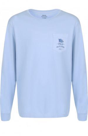Хлопковый лонгслив с круглым вырезом Polo Ralph Lauren. Цвет: голубой