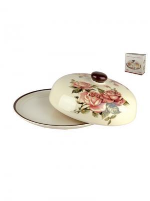 Блюдо для блинов с крышкой 23см Королевская роза Коралл. Цвет: розовый