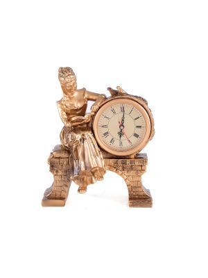 Часы настольные Дама с книгой Русские подарки. Цвет: светло-коричневый