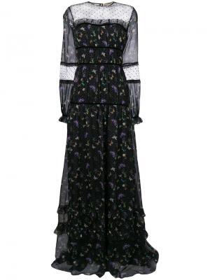 Платье с узором и сетчатой вставкой Piccione.Piccione. Цвет: чёрный