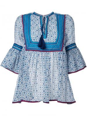 Блузка с рукавами три четверти Talitha. Цвет: синий