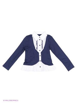 Блузка КАЛIНКА. Цвет: синий, белый