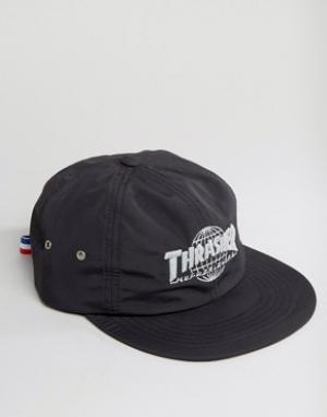 HUF Нейлоновая бейсболка со светоотражающим логотипом x Thrasher. Цвет: черный