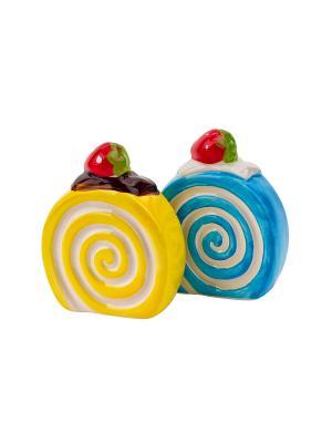 Набор солонка и перечница Бисквит Elff Ceramics. Цвет: желтый, голубой