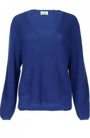 Льняной пуловер крупной вязки с V-образным вырезом Acne Studios. Цвет: темно-синий