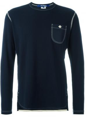 Футболка с длинными рукавами и нагрудным карманом Junya Watanabe Comme Des Garçons Man. Цвет: синий