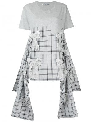 Асимметричная футболка Ribbon Mikio Sakabe. Цвет: серый