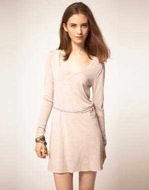 American Vintage Платье с длинными рукавами. Цвет: розовый