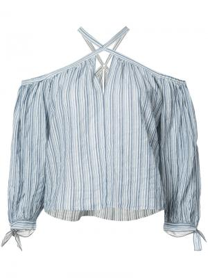 Блуза в полоску с петлей-халтер Rebecca Taylor. Цвет: синий