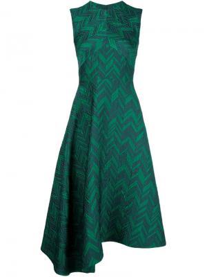 Платье без рукавов с узором-елочкой Jason Wu. Цвет: зелёный