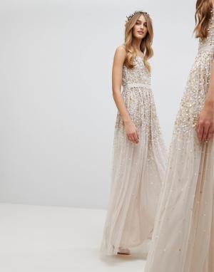 Amelia Rose Платье макси с пайетками. Цвет: коричневый