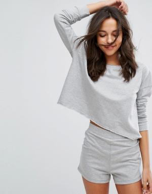 Lazy Days Свободный джемпер и пижамные шорты. Цвет: серый