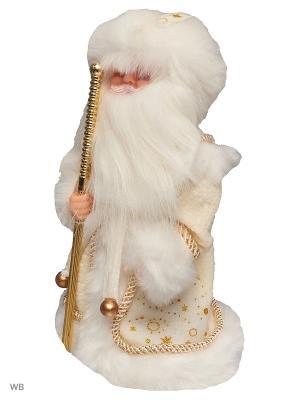 Дед Мороз музыкальный в белой шубке (русская мелодия), 30см А М Дизайн. Цвет: кремовый
