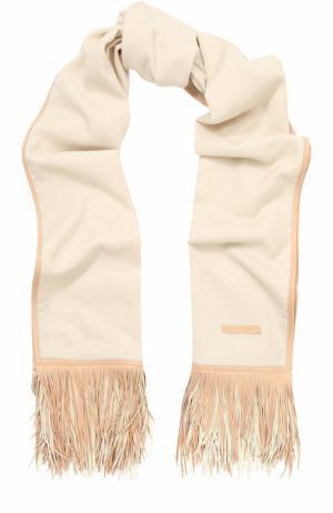 Кашемировый шарф с кожаной отделкой Elie Saab. Цвет: белый