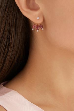 Позолоченные серебряные серьги с турмалинами Moonka Studio. Цвет: розовый