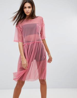 Uncivilised Сетчатое платье миди. Цвет: розовый