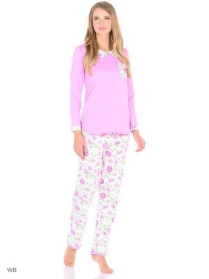 Домашний костюм из футера ( кофта, брюки) HomeLike. Цвет: зеленый, розовый, белый