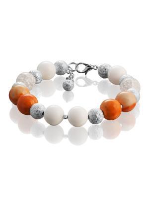 Браслет с яшмой, белым агатом и снежным кварцем L'ATTRICE. Цвет: прозрачный, белый, оранжевый