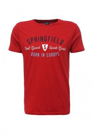 Футболка Springfield. Цвет: красный