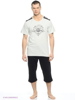 Пижама Vienetta Secret. Цвет: серый, белый